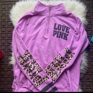PINK Victoria's Secret RARE Cheetah Quarter Zip M